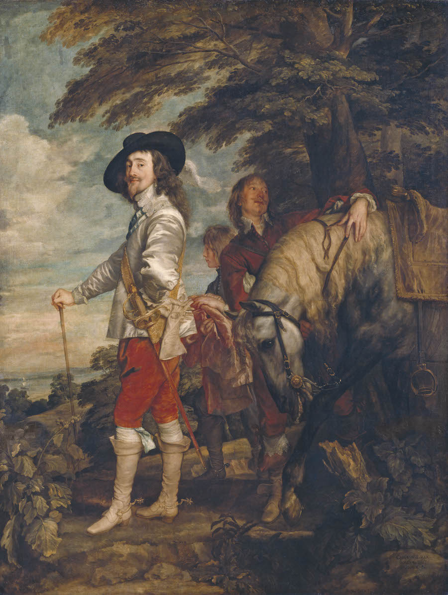 The King looks almost friendly and confident, displaying some swagger. Charles I in the Hunting Field, c. 1636, by Anthony van Dyck (1599–1641), This is a work that is rarely lent to other museums Musée du Louvre, Paris, Photo © RMN-Grand Palais (musée du Louvre)