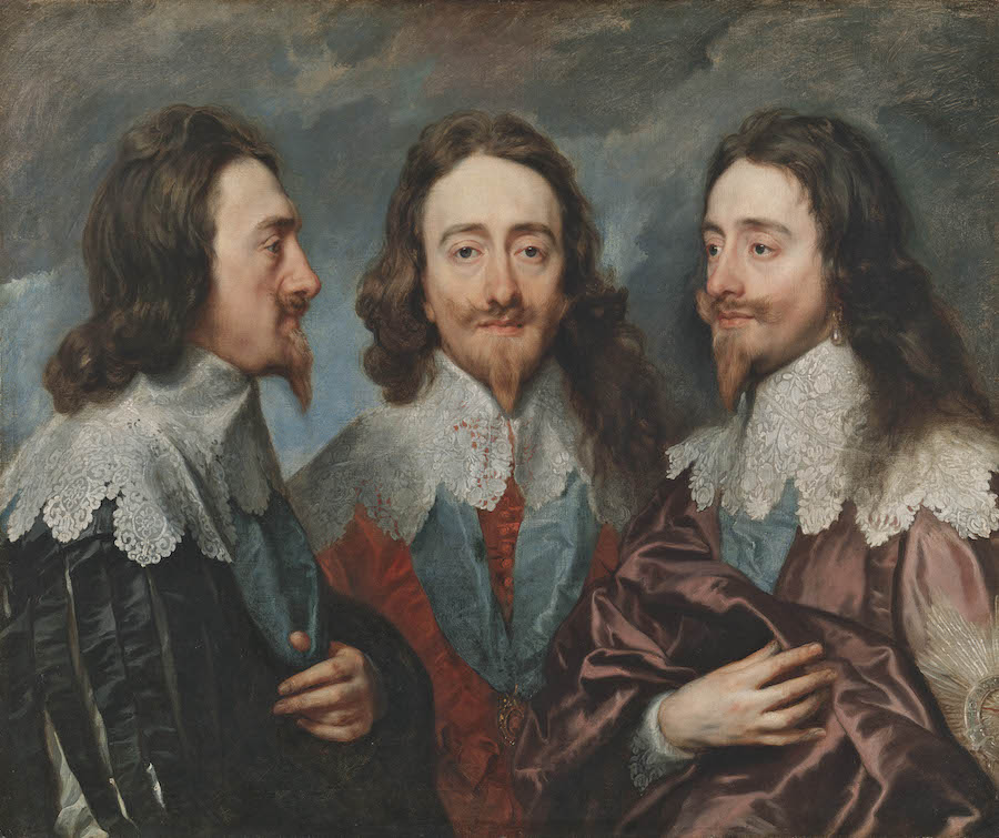This triple portrait was sent to Rome and was used as a reference by sculptor Bernini to create a marble bust (which was lost in a fire). Charles I in Three Positions, 1635–36 by Anthony van Dyck Royal Collection Trust / © Her Majesty Queen