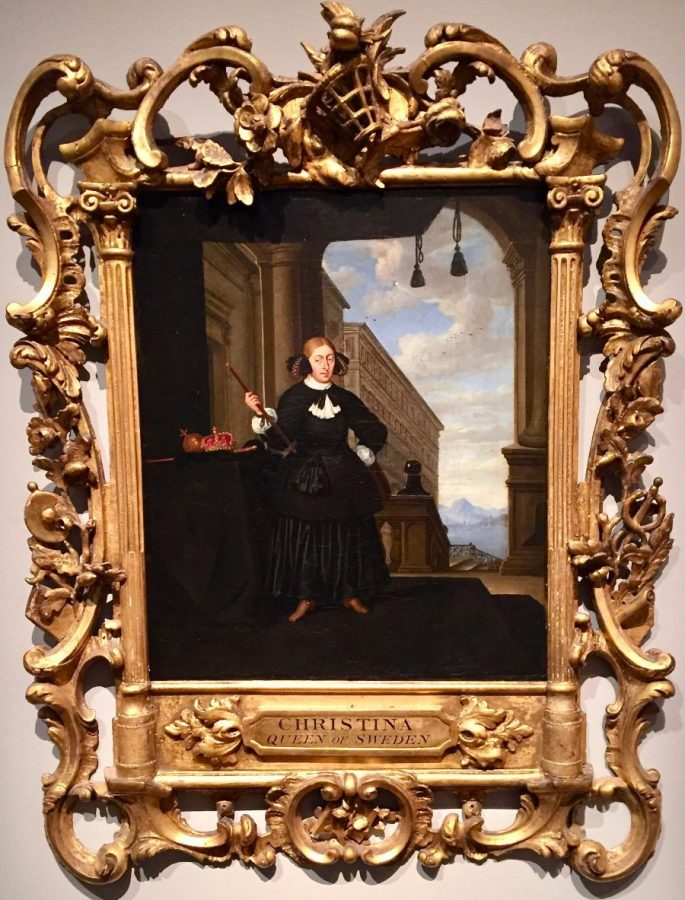 Where this painting of the abdicated Queen Christina is set remains unclear, but she is no Greta Garbo. photo: Alnert Ehrnrooth
