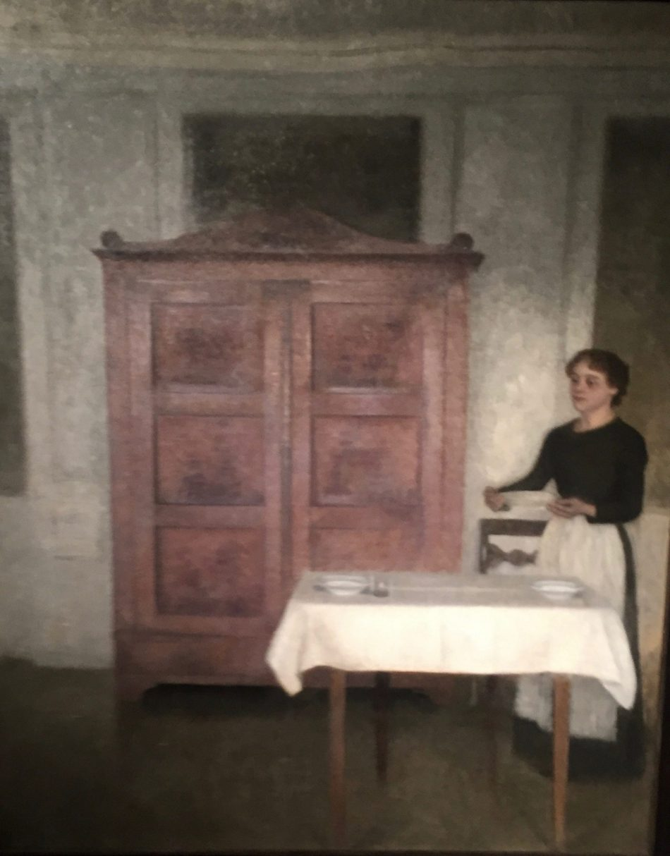 Pigen dækker bord (Maid setting the table) by Vilhelm Hammershøi features an armoire that could be harboring some dark secrets....photo:Albert Ehrnrooth