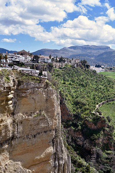 Limestone cliff Ronda - mountaintop city in Spain's Malaga province.