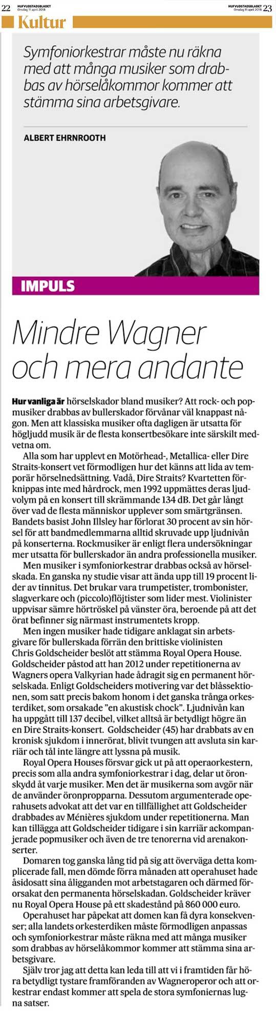 Mindre Wagner och mera andante, Hufyudstadsbladet, 11 april 2018